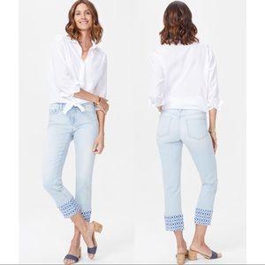 NWT NYDJ Sheri Slim ankle jeans with raw print hem